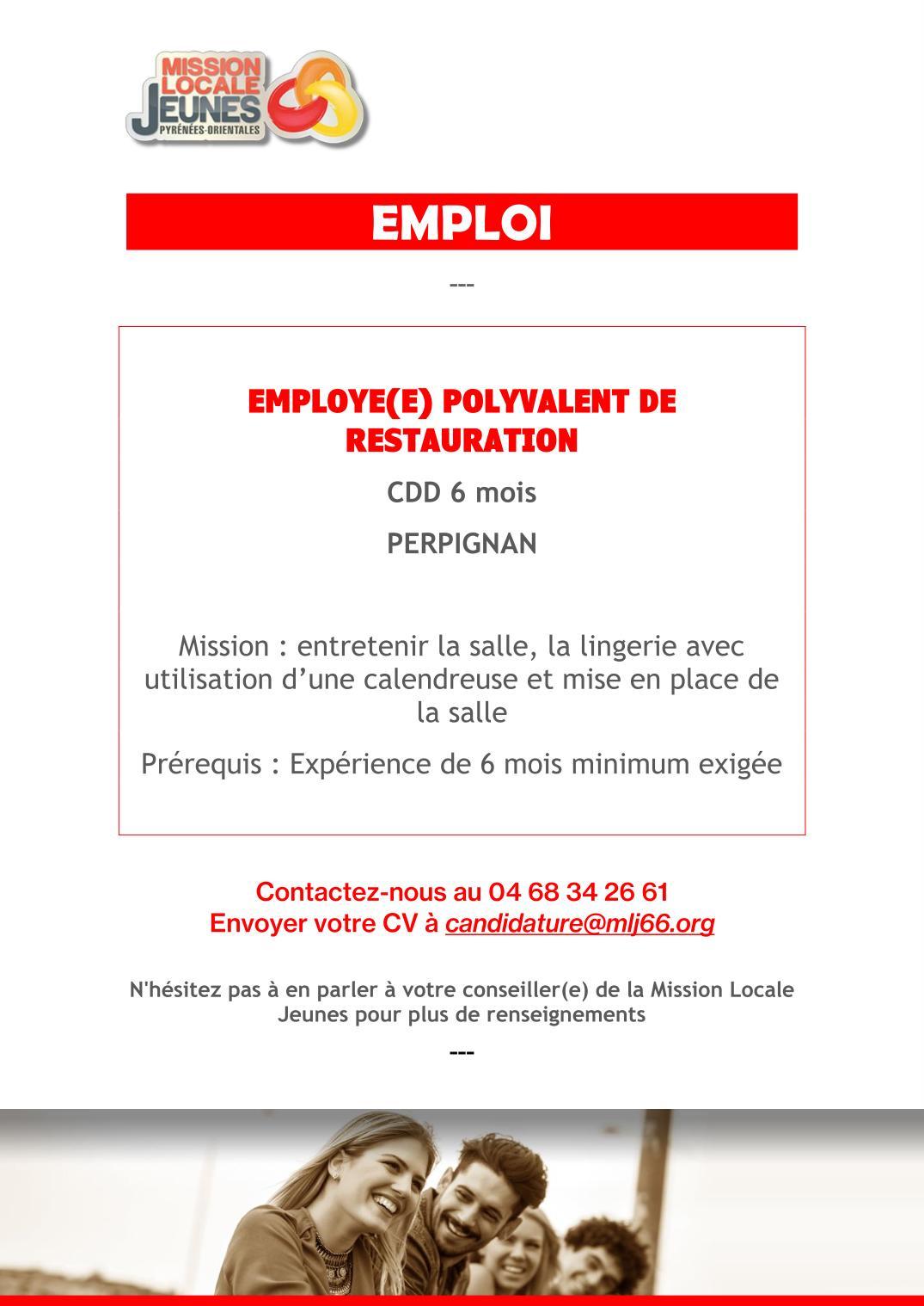 201802cht employe e polyvalente de restauration mission for Offre emploi agent de restauration